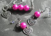 Girls Handmade Fushia Hot Pink Faux Pearl and Silver Heart Charm Necklace and Earrings Jewelry Set