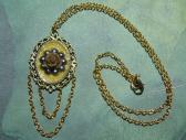 Handmade Gold Tone and Grey Flower Cameo Pendant Necklace