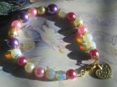 Girly Handmade Beaded Bracelet in Pink White Purple with Golden Heart Charm