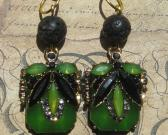 Green and Black Crystal and Stone Handmade Dangle Earrings