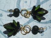 Green and Black Crystal and Stone Handmade Leaf Dangle Earrings