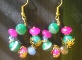 Small Handmade Gemstone Hoop Green Pink Blue Earrings