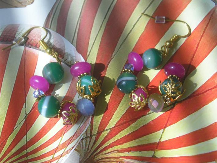 Small Handmade Gemstone Hoop Green Pink Blue Earrings
