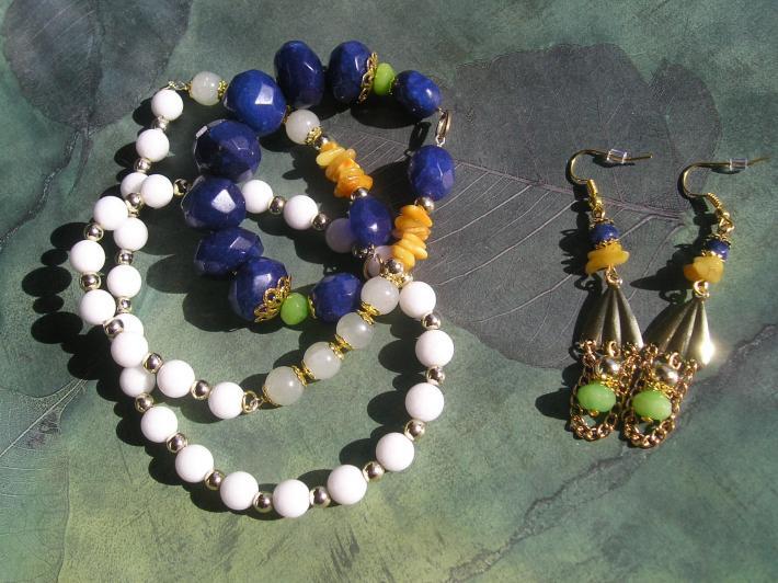 Handmade Sapphire Alabaster Aquamarine Amber Jade Necklace Earrings Set