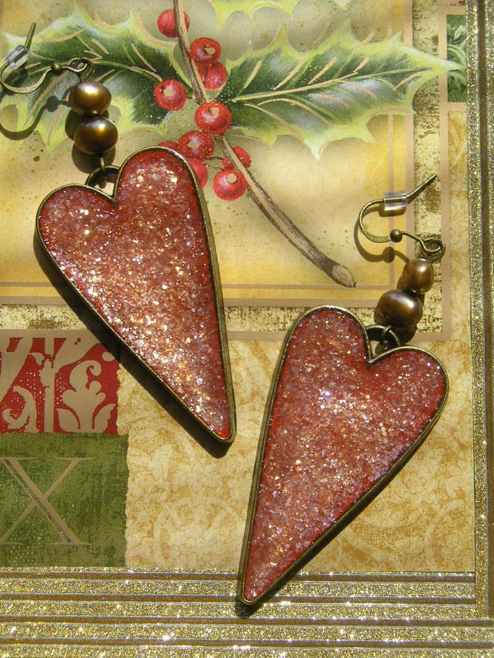 Big Bold Statement Red Heart Handmade Earrings
