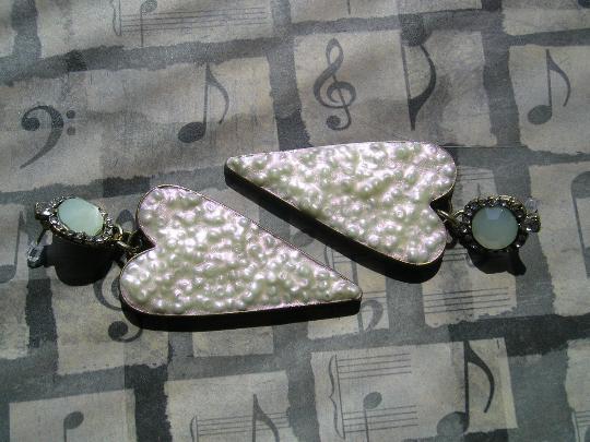 Big Bold Statement Iridescent Ivory Mint Heart Handmade Earrings
