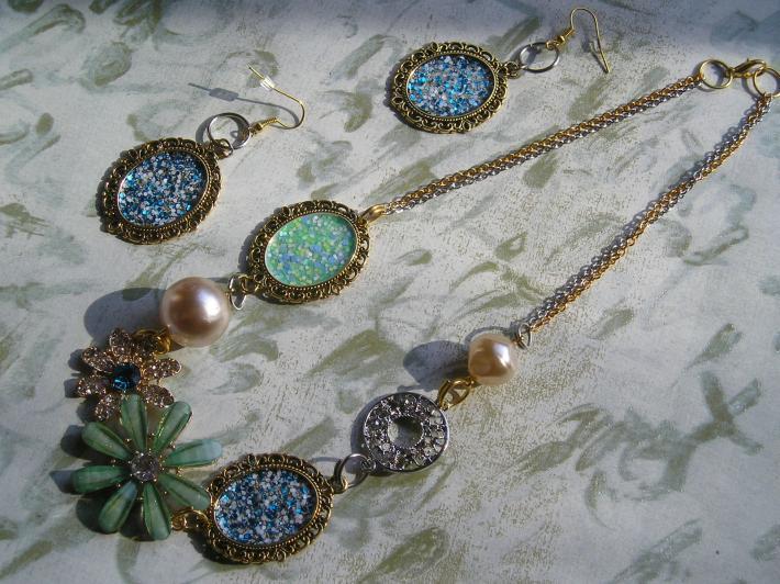 Summer Blue Aqua Fashion Crystal Handmade Necklace Earrings Set