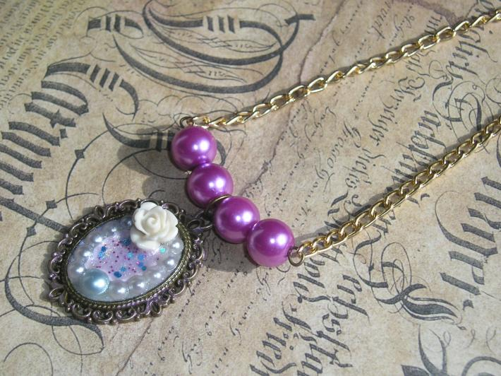 Purple Cream and Light Blue Handmade Pendant Choker Necklace