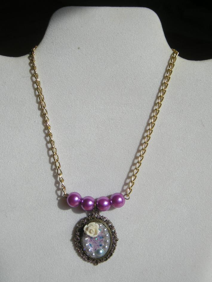 Purple Cream and Light Blue Handmade Pendant Choker Necklace