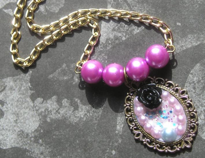 Purple and Black Handmade Pendant Choker Necklace