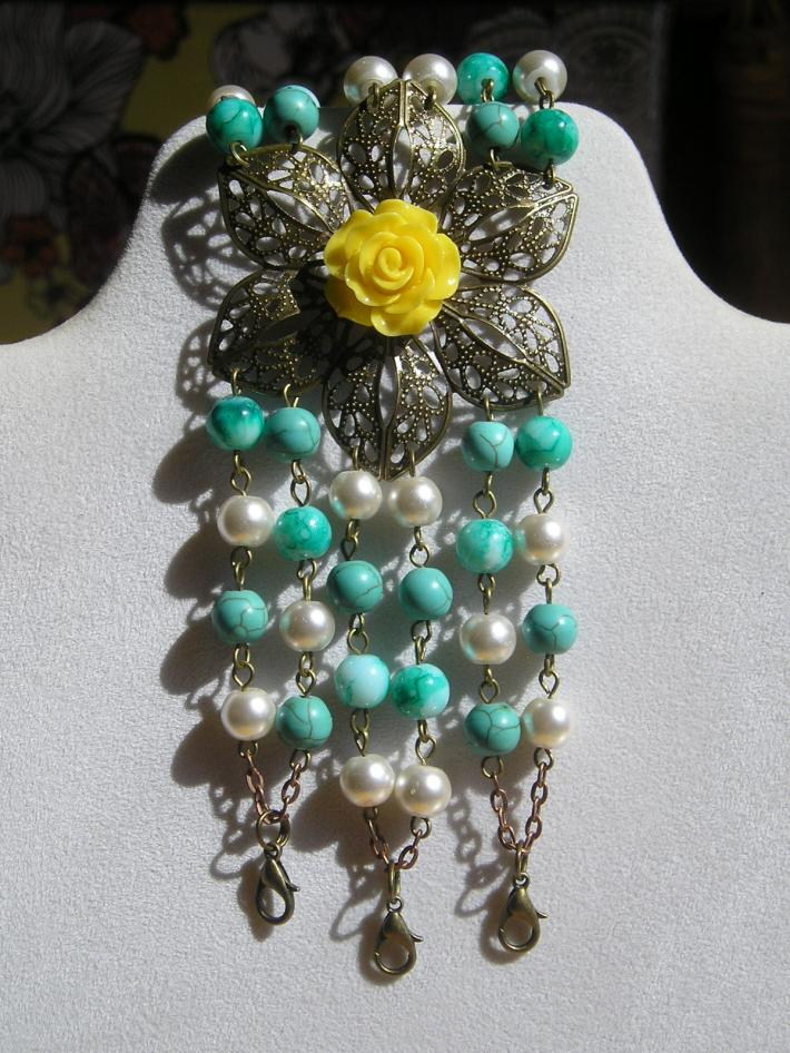 Large Handmade Beaded Turquoise and White Bracelet with Yellow Flower