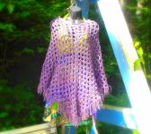 Poncho Tie Dye Grape Color Bikini Cover Up Vegan Festival Warm Up Hippie BOHO 70s Style