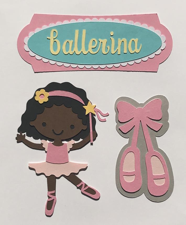 African American Ballerina Scrapbook Die Cut Set