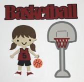 Basket Ball Girl Red Uniform Scrapbook Die Cut
