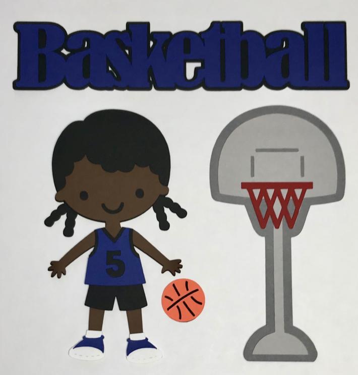African American Basketball Girl Blue Uniform Scrapbook Die Cut