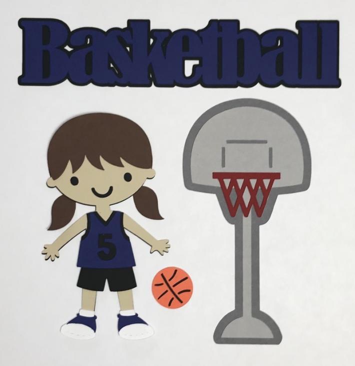 Basketball Girl Blue Uniform Scrapbook Die Cuts