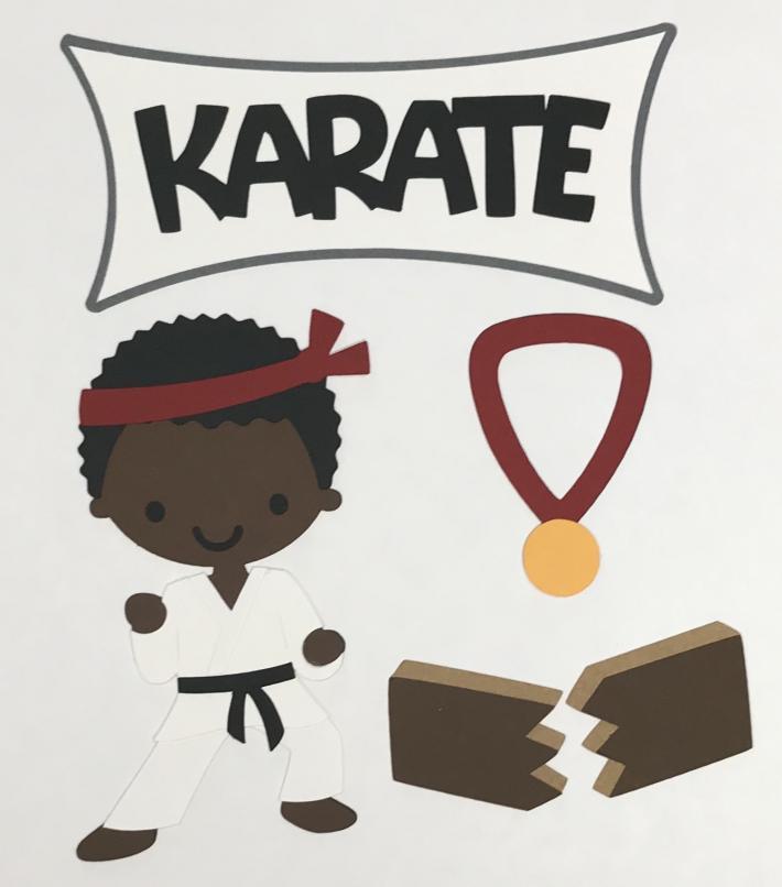 African American Karate Boy Scrapbook Die Cut Set