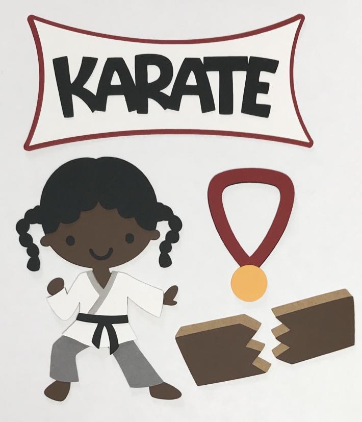 African American Karate Girl Scrapbook Die Cut Set