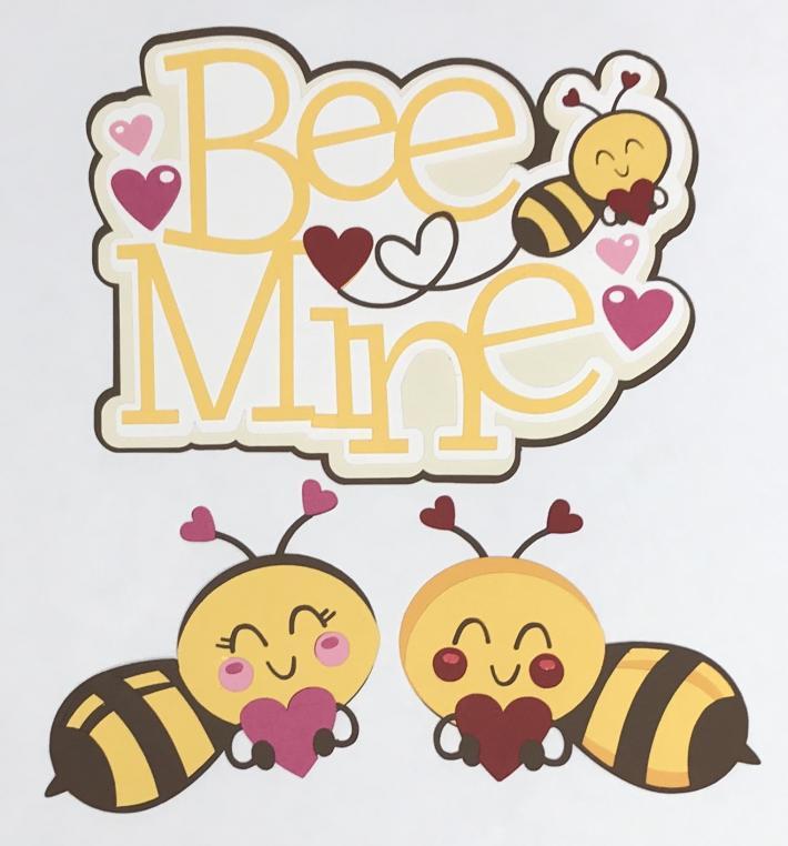 Bee Mine with Bees Scrapbook Die Cut Set