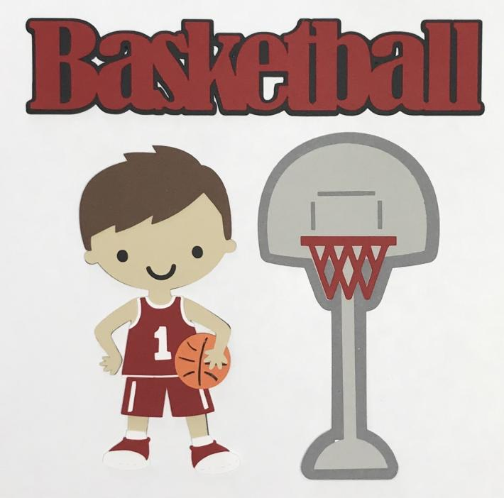 Basket Ball Boy Red Uniform Scrapbook Set
