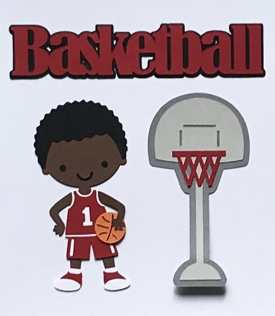 African American Basket Ball Boy Red Uniform Scrapbook Die Cut Set