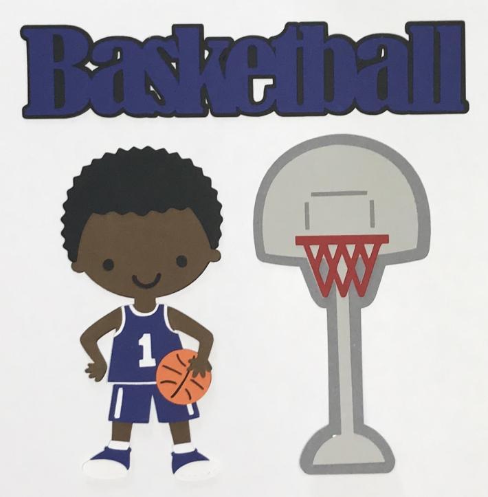African American Basketball Boy Blue Uniform