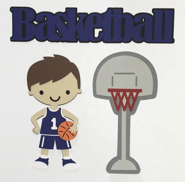 Basketball Boy Blue Uniform Scrapbook Die Cut Set