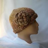 Warm Earth Colors Crochet Cloche W Flower ch0108