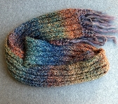 Colorful Hand Knit Ribbed Scarf ks004