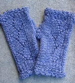 Hand Knit Lavender Blue Fingerless Gloves kg002