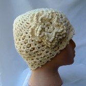 Lacy Crochet Cloche Hat Ivory and Lace lh0115