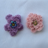 Mini Flower Hair Barrettes Pink and Lavender hc031