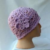 Womens Lacy Crochet Cloche Cap Lavender ch017