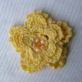 Single Yellow Flower 1 and one half inch Snap On Hair Clip hc032