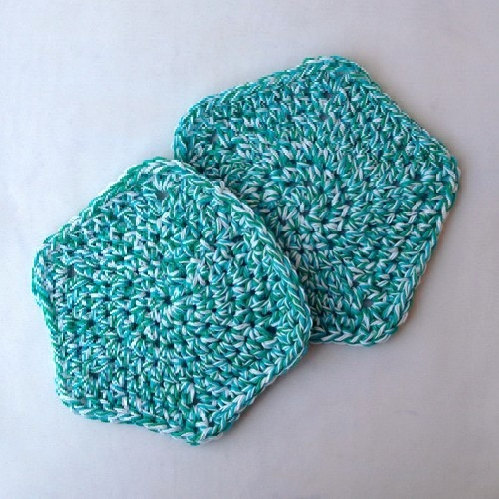 Hand Crocheted Cotton Washcloths Set of 2 wc024