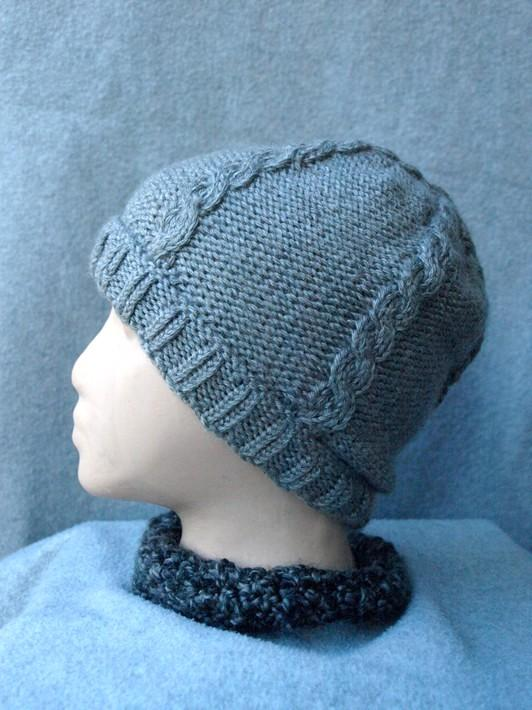 Cable Knit Heather Gray Hand Knit Beanie Cap kh0116