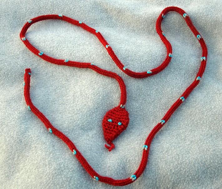 Knit Red Snake Lariat Necklace Sash or Toy sk0105