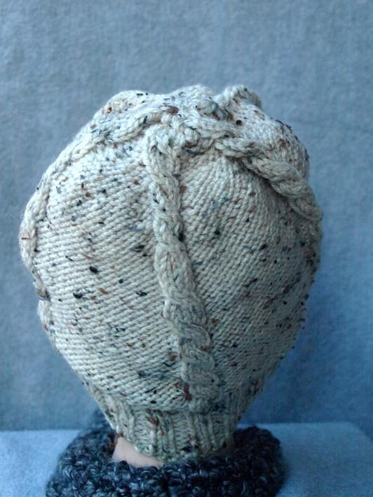 Cream with Brown specks Cable Knit Fishermans Cap kh0118