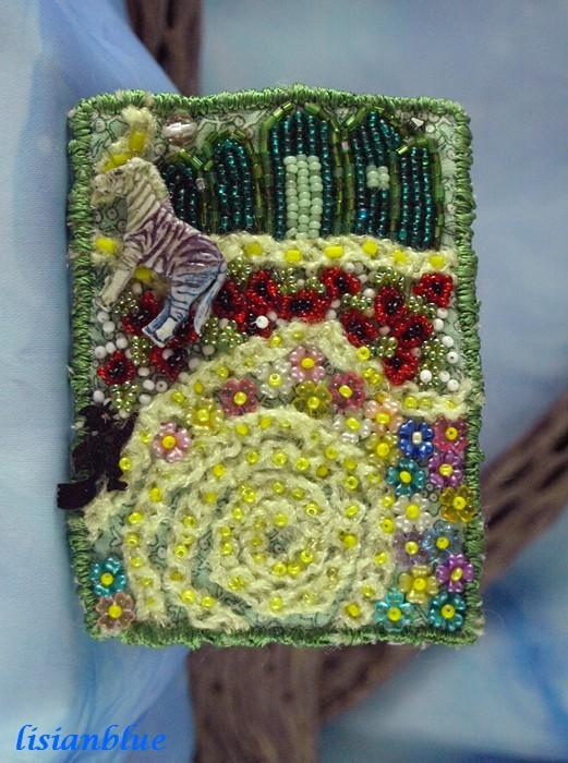 A Horse of Different Colors of Course Hand Quilted Hand Beaded ACEO aceo0110