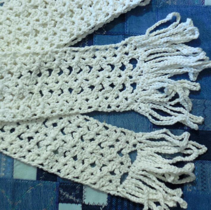 Winter Through Summer Crocheted Cotton Lacy White Scarf