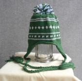 Hand Knit Green and White Earflap Hat