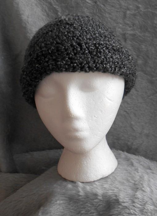 Dark Grey and Silver Winter Hat Soft and Warm