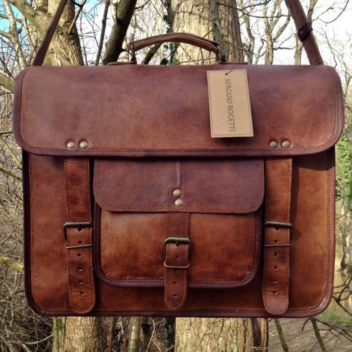 Hand Made Leather Satchel Tan Briefcase