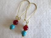 Red Ruby and Blue Turquoise Long Kidney Hoop Gold Tone South Western Style Earrings