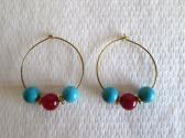 Blue Turquoise and Red Ruby Gemstone Gold Hoop Earrings