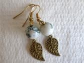 Green and White Tree Agate and Gold Tone Filigree Leaf Earrings