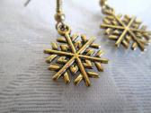 Gold Plated Snow Flake Filigree Charm Earrings