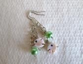 Teenie Shell Angelfish and Green Pearl Silver Tone Earrings