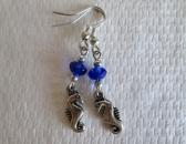Stylish Seahorse Charm and Cobalt Blue Crystal Silver Tone Earrings