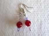 Red Ruby with Pink and Purple Faceted Crystals Silver Tone Earrings